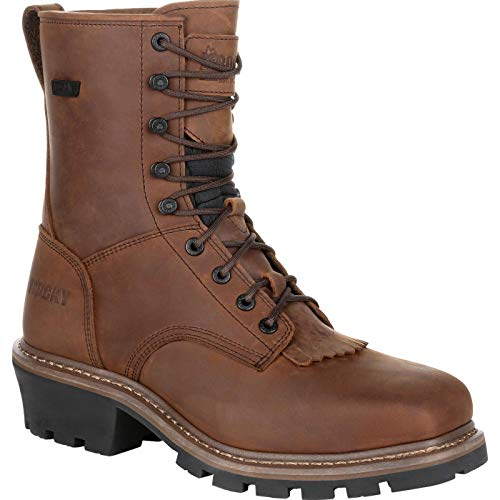 Rocky Square Toe Logger Composite Toe Waterproof Work Boot Size 9(M) Dark Brown