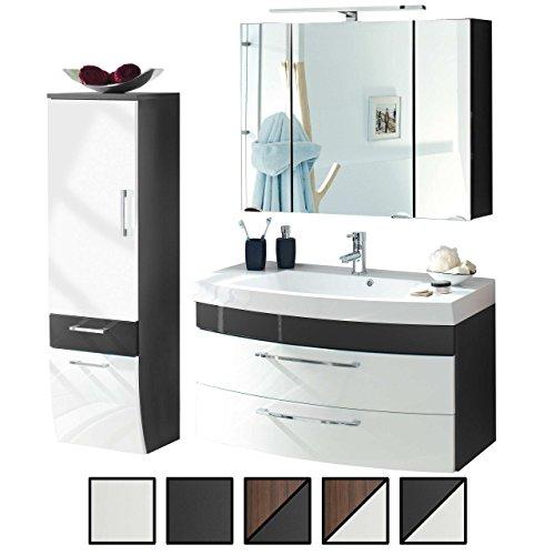 Badmöbel-Set VERONA Medium Anthrazit Weiß 3-tlg, Spiegelschrank 90 cm LED beleuchtet, Waschtisch-Unterschrank 100 cm mit 2 Schubladen, Bad Hochschrank 40 cm unten abgerundet