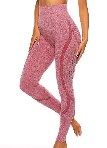 INSTINNCT Damen Yoga Lange Leggings Slim Fit Fitnesshose Sporthosen #3 Laser Stil - Rosa S