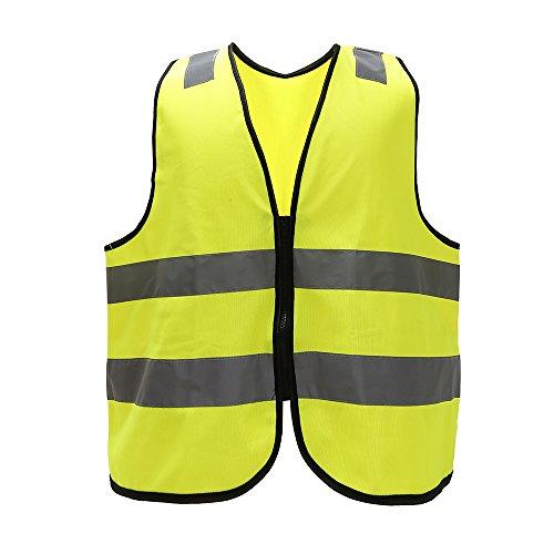 Mehrere Farben, Unisex hochsichtbare Warnweste Hohe Sichtbarkeit Warnweste Reflektierende Weste Reißverschluss Sicherheitswesten EN ISO 20471 (L, Gelb)