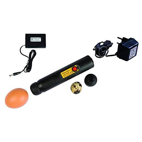 LED-Eierschierlampe POWER-LUX, für Netz- und Akkubetrieb, Schierlampe für Hühnereier, Eierprüfer, Eiertester, inkl. 230V-Netzteil, Akkuhalterung und zwei weichen Gummikappen