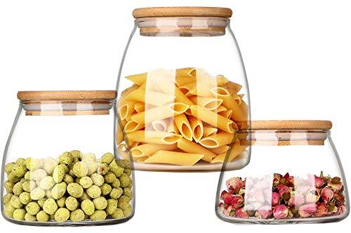 Lawei Set di 3 barattoli in vetro con coperchio in bambù – Set di contenitori in vetro per conservare cibi secchi, cereali, biscotti, caffè e tè