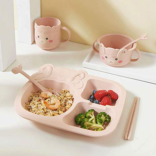 ZXZH Children's 6 Pcs Bamboo Dinner Set Childrens Tableware Feeding Tray Baby Cartoon Plates For Kids Meals Bamboo Tableware Tableware Eco Friendly,BPA Free And Dishwasher Safe Kids Healthy Meal Time