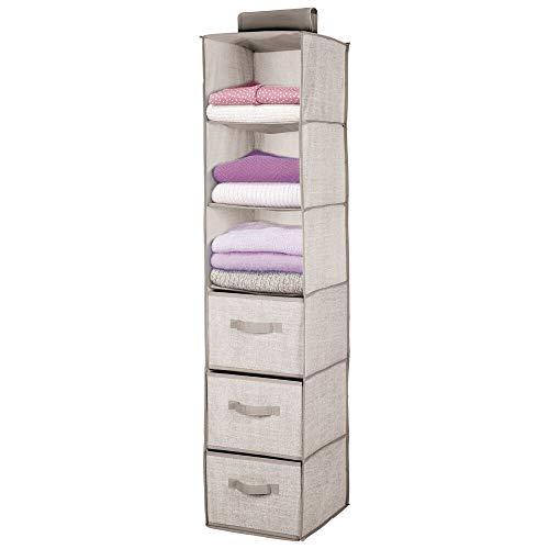 mDesign Organizador de armario colgante de fibra sintética – Práctico colgador de armario con 3 estantes de tela y 3 cajones para dormitorio – Ideal para organizar armarios – gris claro/marrón claro