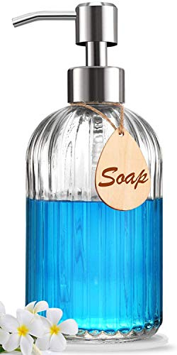 Soap Dispenser with Non-Slip Silicone Pad – Premium Quality – Large Size Dish & Hand Soap Dispenser – Rust Proof Stainless Steel Pump – Ideal for Kitchen Dish Soap, Bathroom Soap, Essential Oil Clear