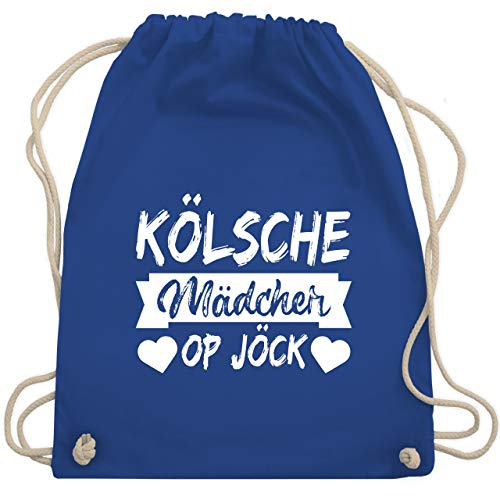 Shirtracer Karneval & Fasching - Kölner Sprichwort - Kölsche Mädcher op Jöck - weiß - Unisize - Royalblau - köln karneval rot weiß - WM110 - Turnbeutel und Stoffbeutel aus Baumwolle