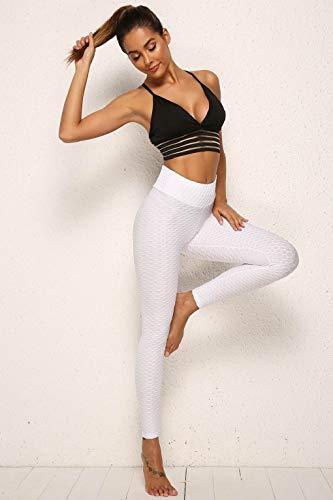 CMTOP Mallas Leggings Mujer Pantalones de Yoga Fitness Cintura Alta Pantalones Deportivos para Running Training Estiramiento Yoga y Pilates (Blanco,S)