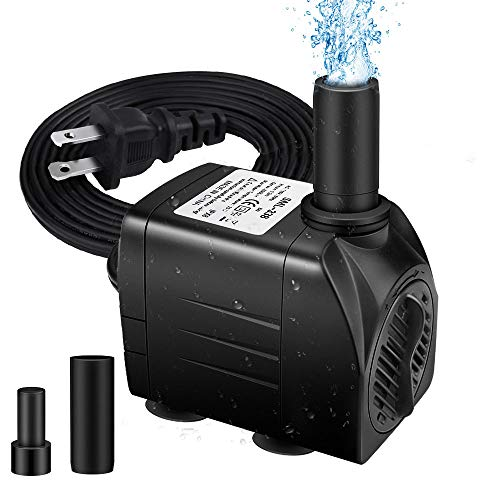 "Winkeyes 160GPH Fountain Pump with 48"" Lift, 8W Small Submersible Fountain Water Pump for Outdoor Indoor Tabletop Water Fountain, Aquarium, Fish Tank, Hydroponic, Pond, 6ft Power Cord, 2 Nozzles"