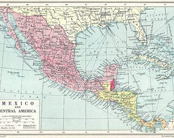 MG global México Y Centroamérica Vintage Map 1930 Mapas Antiguos Litografías Regalos Golfo de México Cuba Caribeño Arte de pared sin marco