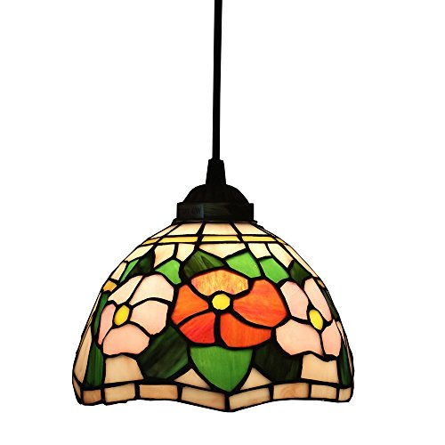 Beleuchtung Tiffany Stil Pendelleuchten, Titania Antike und mit Juwelen Uplighter Rose Blume Design Deckenleuchte Anhänger Glasmalerei Schatten, 13 * 20 Cm