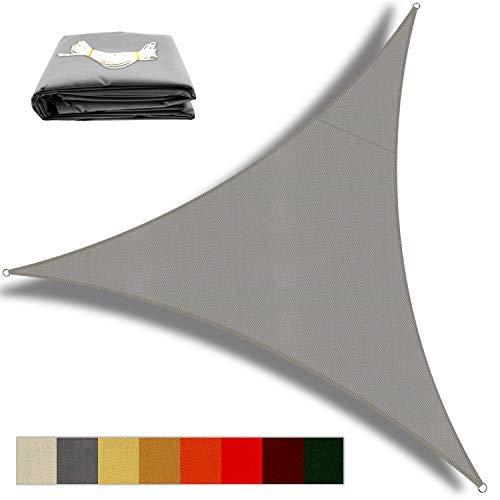 OKAWADACH Toldo Vela de Sombra Triangular 2 x 2 x 2m, Vela de Sombra Protección UV para Patio, Exteriores, Jardín, Gris Claro