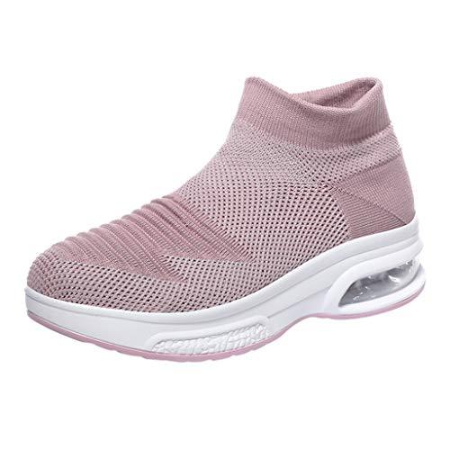 Damen High Top Sportschuhe Casual Plateauschuhe Slip On Atmungsaktive Laufschuhe Plattformen Fitnessschuhe Sport Bequeme Turnschuhe Socken Sneaker, Rosa-3, 40 EU