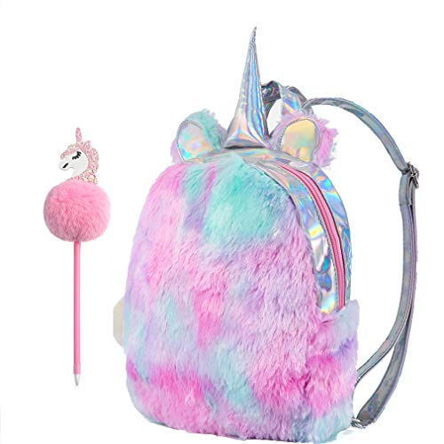 Yorki Girls Plush Unicorn Backpack Fashion,Shool Women Unicorn Bag Travel,Cute Bookbag for Unicorn Party Supplies-Pink