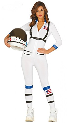 shoperama Women Sexy Astronautin Costume Overall Catsuit White Nasa Space Woman Jumpsuit