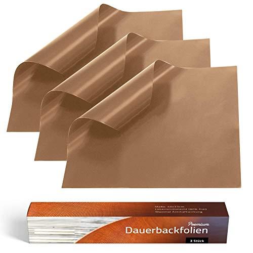 Collory Premium Dauerbackfolie (3er Set), Backpapier wiederverwendbar, Backfolie braun, Backunterlage Teflon antihaftend, Dauer- Backmatte, Dörrfolie, Lebensmittelecht BPA-Frei, EXTRA DICK, 40x33cm