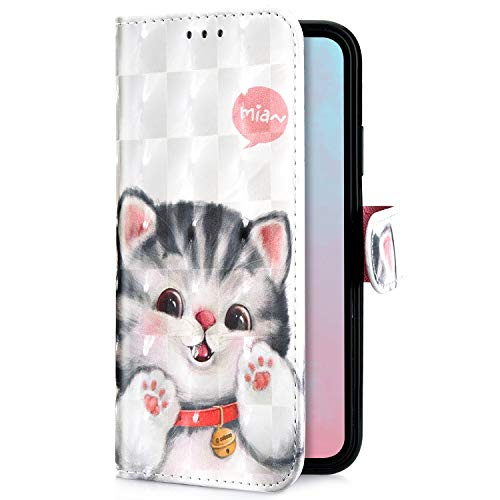 Uposao Kompatibel mit Samsung Galaxy A8 Plus 2018 Handytasche Bling Glitzer 3D Muster Handy Hülle Flip Case Cover Schutzhülle Tasche Lederhülle Bookstyle Klapphülle Kartenfächer,Katze
