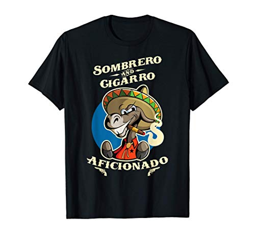 Mexican Spanish Sombrero Cigarro Cigar Smoke Burro Cartoon T-Shirt