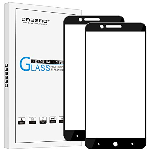(2 Pack) Orzero Compatible for ZTE Blade Z Max, Z982, Zmax Pro 2, ZTE Sequoia Blade Tempered Glass Screen Protector, (Full Coverage) 2.5D Arc Edges 9 Hardness HD (Lifetime Replacement)-Black