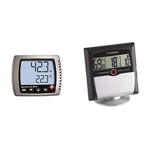 Testo 0560 6081 608-H1 Thermo-Hygrometer, Feuchte-/Taupunkt-/Temperatur-Messgerät & TFA Dostmann Comfort Control digitales Thermo-Hygrometer, 30.5011, mit Schimmelalarm, Raumklimakontrolle