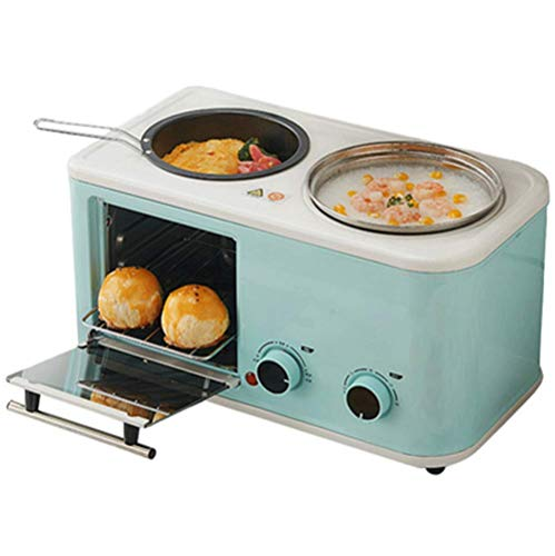 Machine à pain électrique 3 en 1 Ménage Petit déjeuner Mini MultiFunction en acier inoxydable Grille-pain four à pâtisserie Omelette Poêle à frire Hot Pot Boiler Food Steamer, Bleu liuchang20