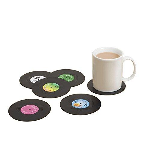 Westeng Dessous de Verre Rond Vintage CD Vinyle sous-Verres Set de Table antidérapant 6pcs/10.5 * 0.2CM