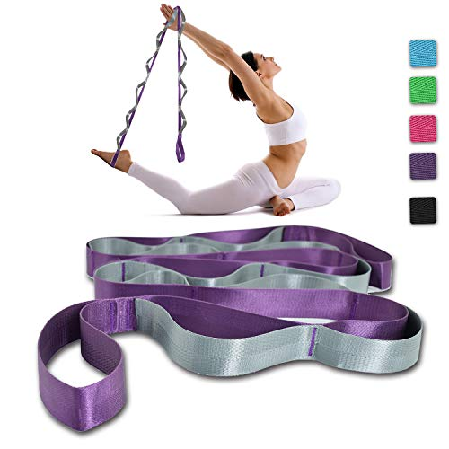 SANKUU Yoga Strap, Multi-Loop Strap, 12 Loops Yoga Stretch Strap, Nonelastic Stretch Strap for Physical Therapy, Pilates, Dance and Gymnastics with Carry Bag (Purple)