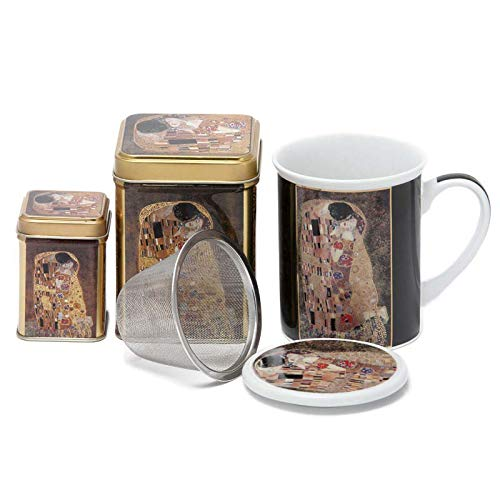 Aromas de Té - Pack Conjunto de Tisanera/Taza para Té de Porcelana + Latas de Té con diseño de El Beso + Infusor de Acero, 100 y 25 grs