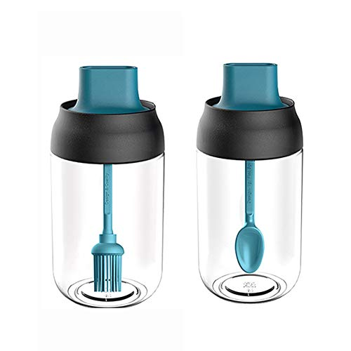 XMYNB Dispensador de Aceite de Oliva Botella De Condimento De Vidrio De Cocina con Cuchara De Vidrio Especias Contenedor Aceite Botella De Miel Accesorios De Cocina