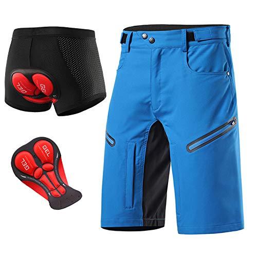 Pantaloni MTB Enduro Pantaloncini Ciclismo Uomo, Pantaloncini MTB Uomo Gel Imbottiti Intimo Mountain Bike Uomo, Abbigliamento Bici,Sky Blue,L
