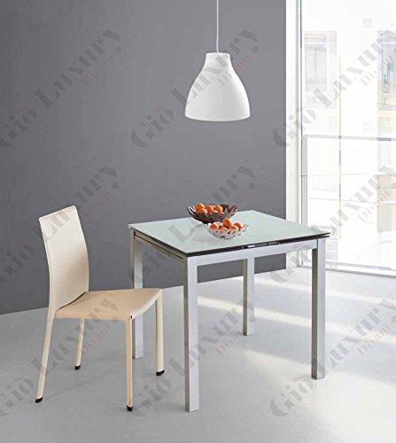 Giò Luxury Tavolo Fast con struttura in metallo di colore argento, rifinitura di colore bianco e top in vetro colorato temperato