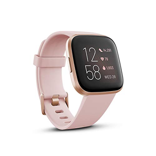 Fitbit Versa 2 Health & Fitness Smartwatch with Heart Rate, Music, Alexa Built-in, Sleep & Swim Tracking-Petal/Copper Rose