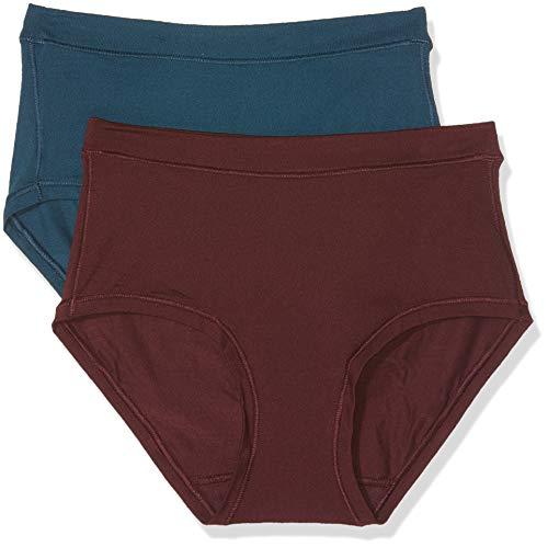Dim Body Mouv Tejido Ultraelástico Bóxer, Multicolor (Azul Pavo Real/Granate 6o7), (Tamaño del Fabricante:44/46) (Pack de 2) para Mujer