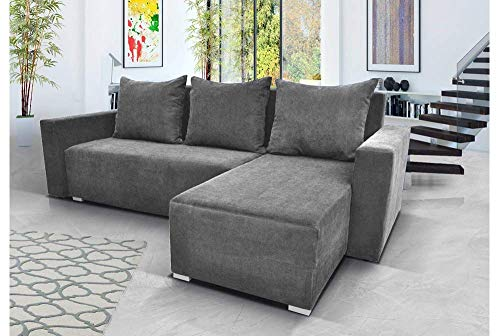 Gama Mobler Corner Sofa Bed New Madera with Storage, Quality Velveteen Fabric, Modular, 3 Seater, L-shape, Universal, Reversible, Pull Out, Wooden Frame in Grey (Kronos)