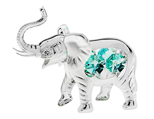 African Elephant Silver Plated Tabletop Metal Figurine with Sparkling Clear Spectra Crystals by Swarovski