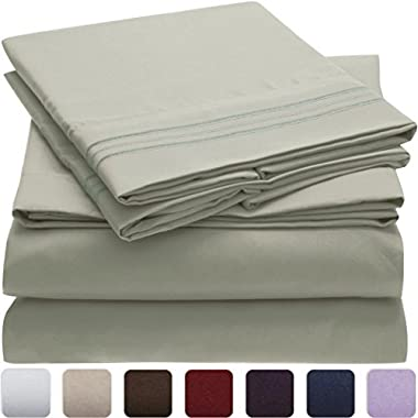 Mellanni Bed Sheet Set - HIGHEST QUALITY Brushed Microfiber 1800 Bedding - Wrinkle, Fade, Stain Resistant - Hypoallergenic - 4 Piece (King, Spa Mint)