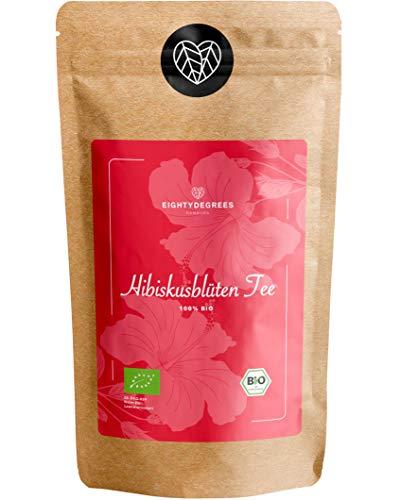BIO Hibiskusblüten Tee - 100% ganze getrocknete Hibiskusblüten, Hibiscus naturbelassen - Premium Bio-Qualität - geprüft und abgefüllt in Deutschland (DE-ÖKO-39) | 80DEGREES (250g)
