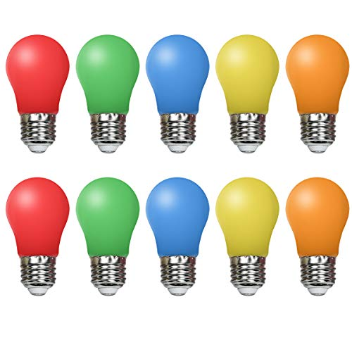 10er Pack Farbige Glühbirnen LED 1.5W E27Beleuchtung Glühbirnen, 220V AC LED Leuchtmittel Birnenform, Gemischte Farben Rot Grün Blau Orange Gelb