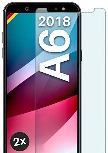 moex Panzerglas kompatibel mit Samsung Galaxy A6 (2018) - Schutzfolie aus Glas, bruchsichere Bildschirmschutz Folie, Crystal Clear Panzerglasfolie, 2X Stück
