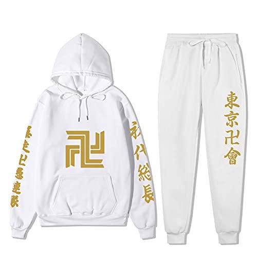 Tokyo Revengers Manjiro Sano Mikey Conjunto de Pantalones con Capucha Sudadera con Capucha de Anime japonés + pantalón de chándal Traje de chándal Ropa Deportiva