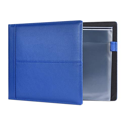 7 Ring Executive Business Check Binder 600 Checks Capcity for 9  x 13  Sheets, PU Leather Checkbook Holder with Zip Pouch [Blue]