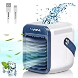 Portable Air Conditioner Fan, Spray humidification, 3 in 1 Air Cooler   Humidifier   Purifier, 2000mAh Rechargeable Battery, 3 Fan Speed, 7 Colors LED Lights Cycle Gradient for Home Kitchen Office