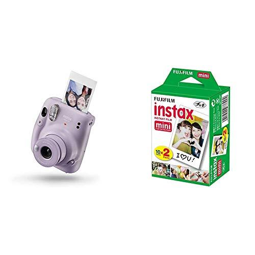 instax Mini 11 - Cámara instantánea, Lilac Purple, Compacto + Fujifilm instax Mini Brillo - Pack de 40 Películas Fotográficas Instantáneas (40 Hojas), Color Blanco