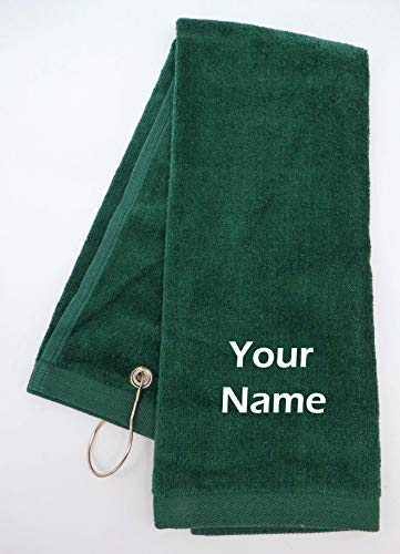 Mana Trading Custom Personalized Embroidered Golf Towel Your Name (Hunter Green)