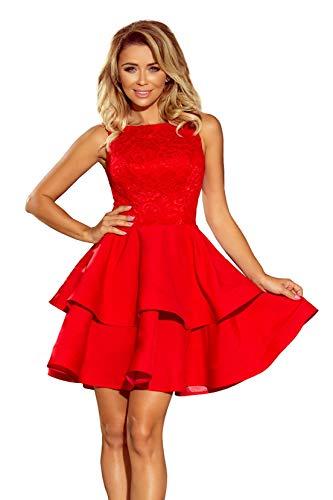 Laura - Elegantes Kleid mit ausgestelltem Rock und Spitze, Made in EU (Rot, M)