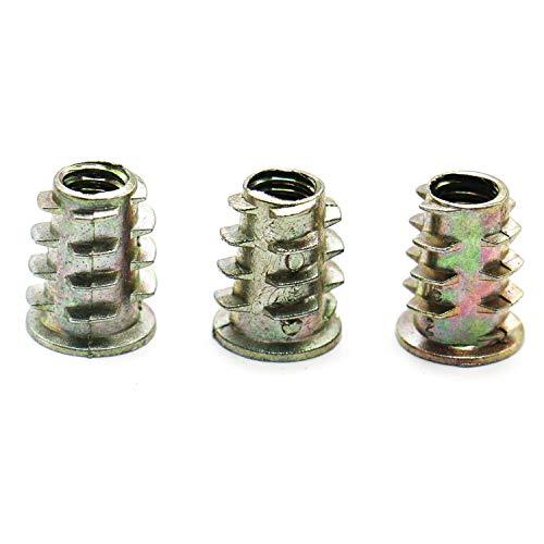 Yoohey 30pcs 1//4 Threaded Insert Nuts Zinc Alloy Hex Socket Drive Screw-in Nut for Wood Furniture Assortments M6x10mm