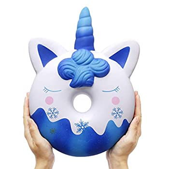 Anboor 13 Inches Squishies Jumbo Unicorn Donut Kawaii Soft Slow Rising Scented Giant Doughnut Squishies Stress Relief Kid Toys  Blue
