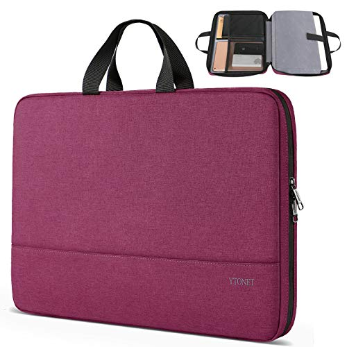Ytonet 15.6 Inch Laptop Case, TSA Friendly Laptop Sleeve for Women Men Lightweight Slim Computer Carrying Case Compatible for HP Dell Asus Laptops,Computer Protective Case, Purple Red