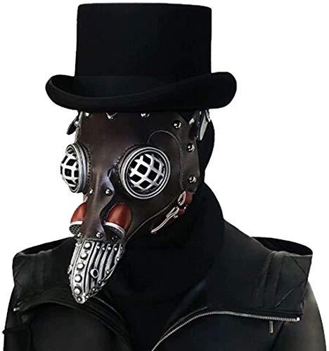 ASEDRF Pest-Doktor-Vogel-Kopfmaske, Leder Lange Nase Bird Beak Maske Steampunk Halloween Gothic Cosplay Props