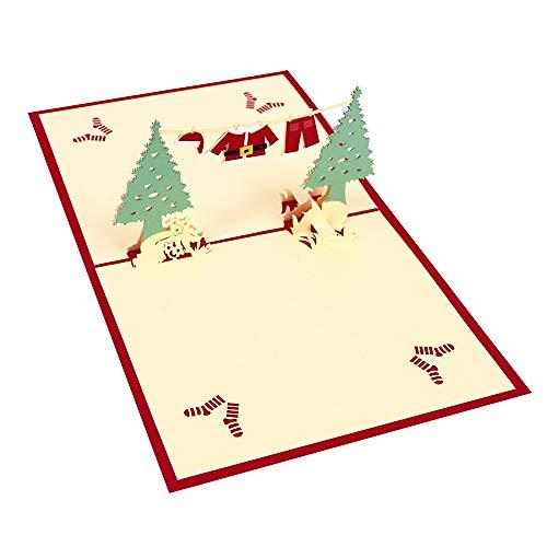 XIANRUI Kerstmis Creatieve 3D Stereo Wenskaart Ingebouwde Kerstboom Kerstmis Kostuum Celebration Card