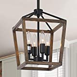 4-Light Rustic Chandelier, Vintage Hanging Lantern Pendant Light Fixture with Oil Rubbed Bronze Finish, Farmhouse Chandeliers for Kitchen Island Living Room Farmhouse Foyer Dining Room Kitchen